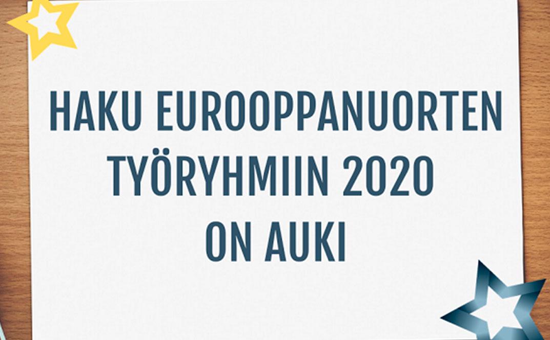 Hae Eurooppanuorten työryhmiin vuodelle 2020