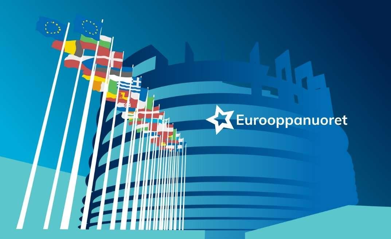 Eurooppanuorten logo. Taustalla eurooppalaisia lippuja ja Euroopan parlamentti.